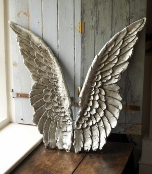 Wooden Angel Wings On Stand Hand Carved 1015mm Tall Angel Wings