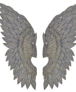 Gilt metal Angel wings wall art feather effect