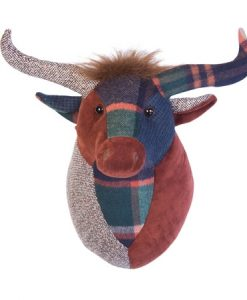 Dora Designs Fionnlagh Patchwork Highland Cow Trophy Head Wall Art